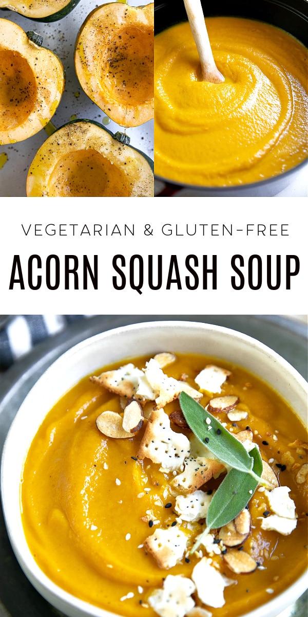 Roasted Acorn Squash Soup Recipe Pinterest Pin Image