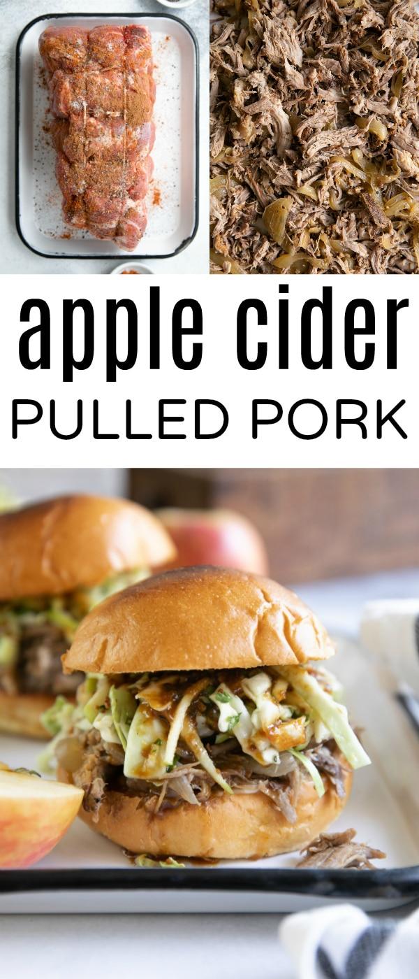 Slow Cooker Apple Cider Pulled Pork #pulledpork #appleciderpulledpork #apple #applerecipes #porkshoulder #slowcookerpork #pulledporksandwiches