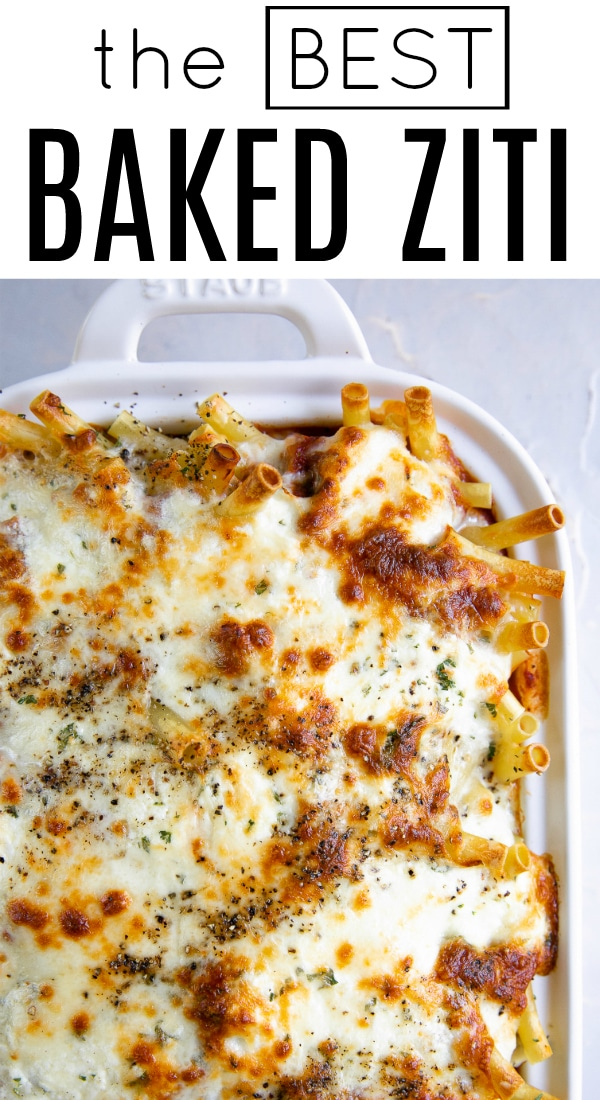Easy Baked Ziti Recipe (How to Make Baked Ziti) #bakedziti #bakedpasta #pastacasserole #zitinoodles #italianrecipe #casserole | For this recipe and more visit, https://theforkedspoon.com/baked-ziti/
