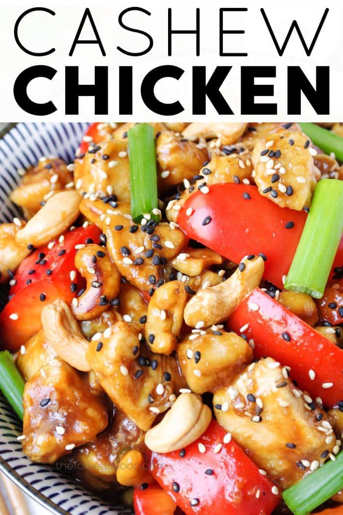 cashew chicken pinterest pin image