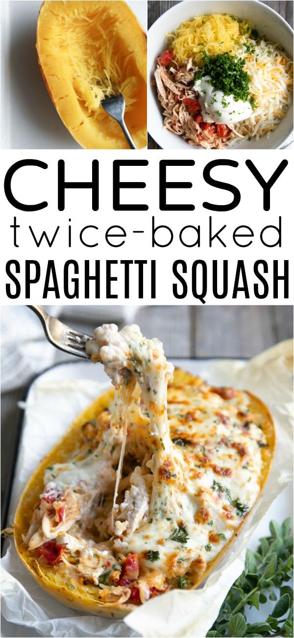 Cheesy Twice-Baked Spaghetti Squash Recipe #spaghettisquash #twicebaked #bakedspaghettisquash #lowcarb #glutenfree #mascarponecheese #fourcheese #spaghettisquashrecipe