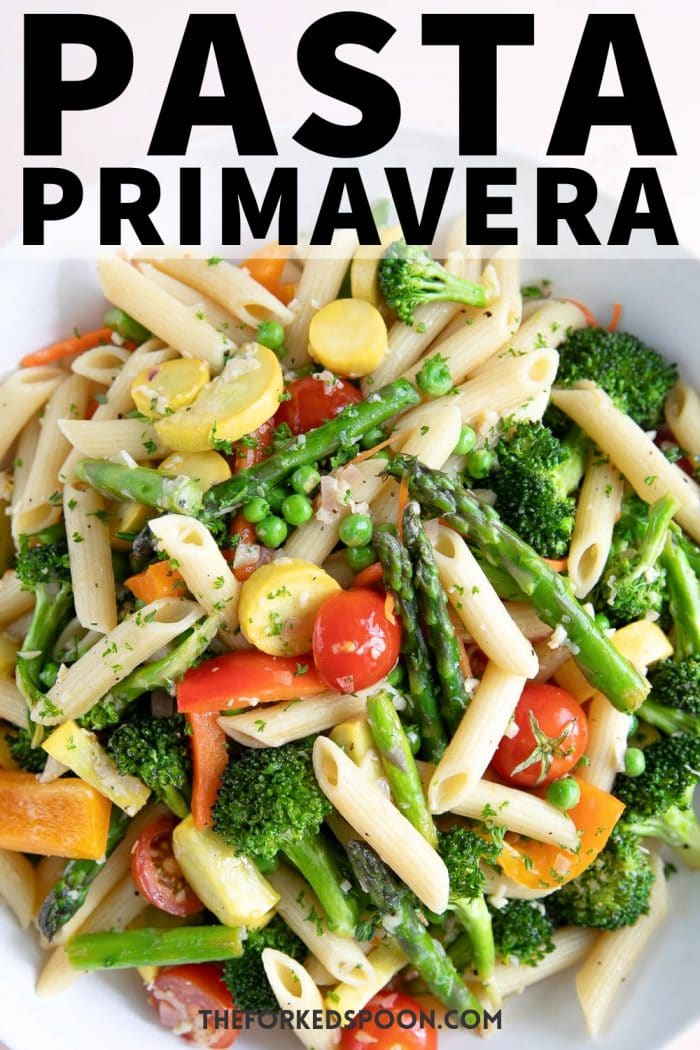 pasta primavera recipe Pinterest Pin Image Collage