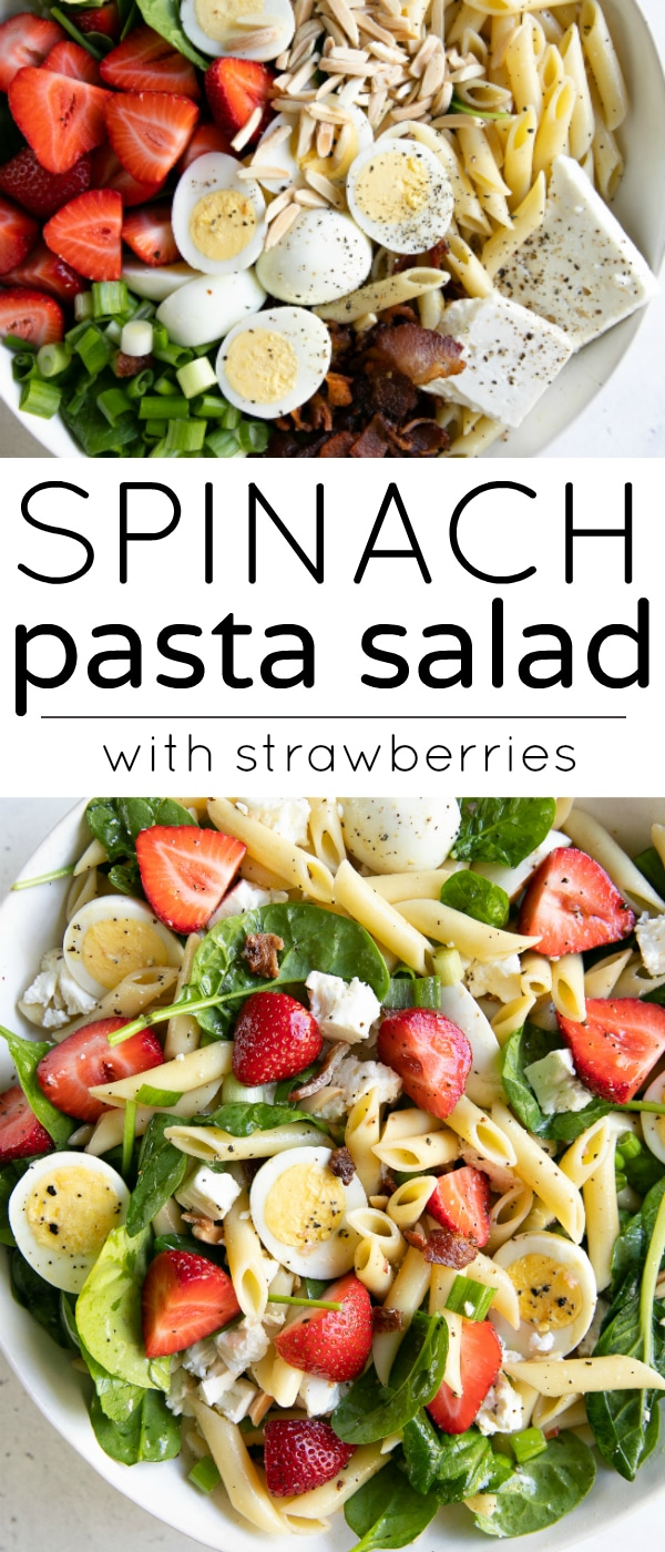 Spinach Pasta Salad Recipe with Strawberries #spinachpastasalad #pastasaladrecipe #strawberryspinachpastasalad #pastasalad #bacon #strawberries #penne