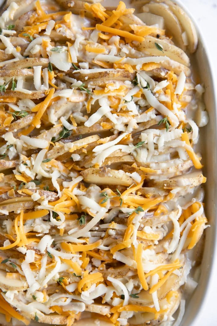 Potatoes au gratin in a casserole dish before being baked in the oven.