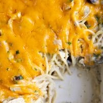 Close up image of a casserole dish filled with baked chicken tetrazzini with a square section scooped out.