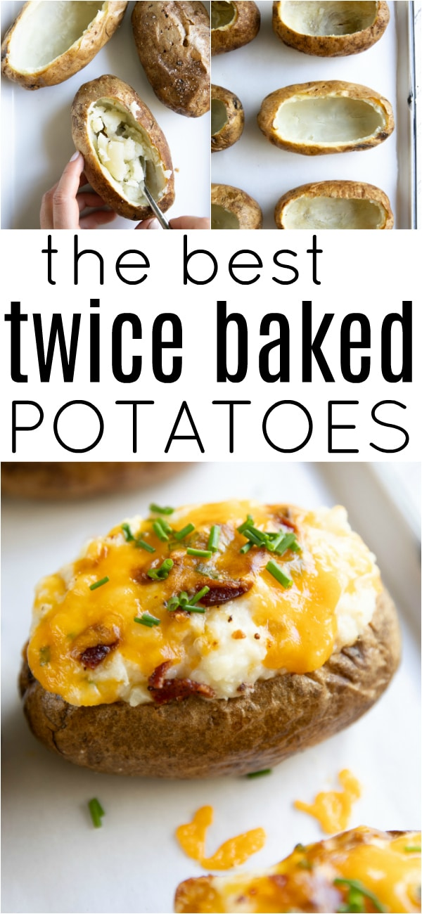 The BEST Twice Baked Potatoes #potato #potatorecipe #twicebakedpotatorecipe #sidedish #easyrecipe #mashedpotato #bakedpotato