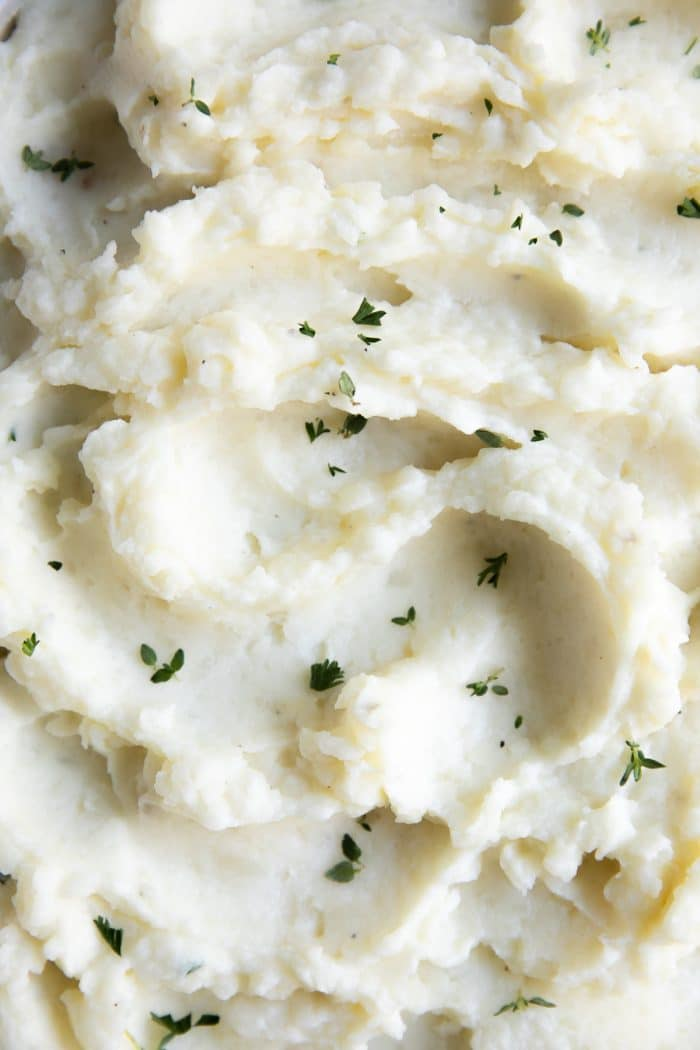 Fluffy waves of mashed potatoes.