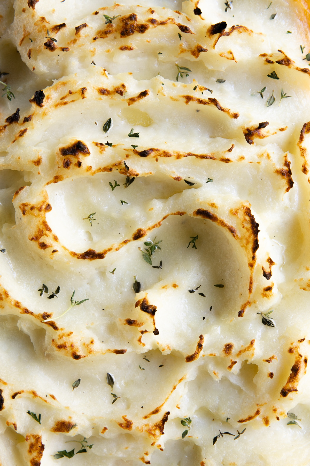 Close up image of the top of a baked shepherd's pie with crispy golden mashed potatoes.