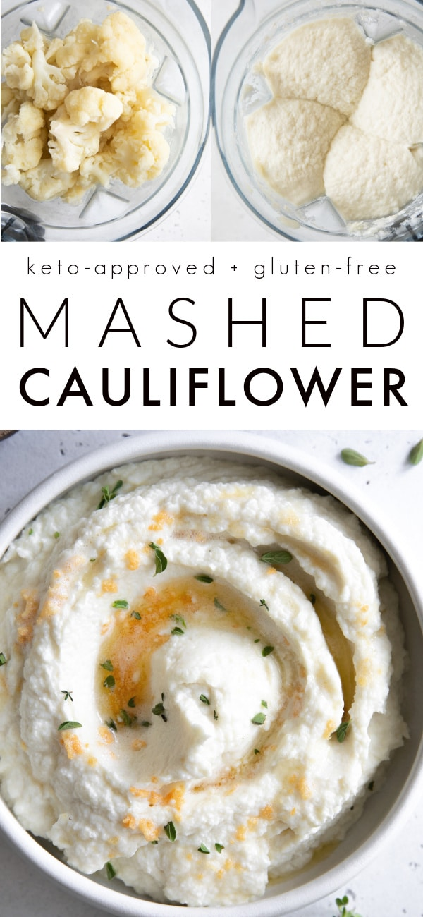 creamy mashed cauliflower recipe Pinterest Pin Collage