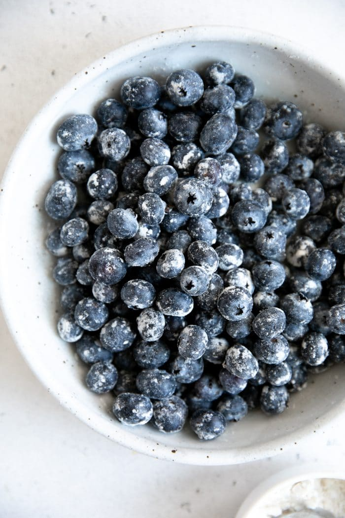 Fresh blueberries tossed in all-purpose flour.