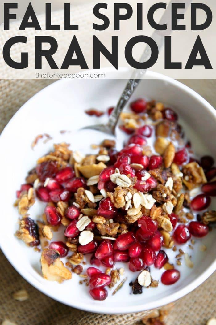 Crunchy Fall Spiced Granola Recipe Pinterest Pin Image