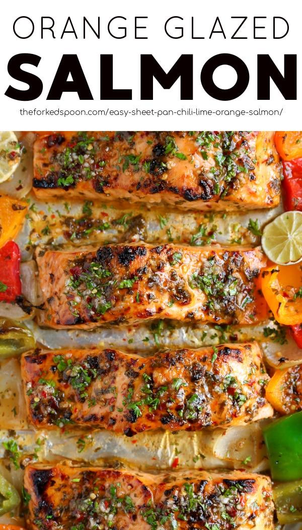 Chili Lime Orange Glazed Salmon Recipe Pinterest Pin Collage Image