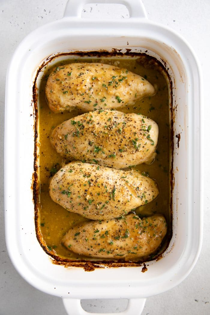 Baked Honey Mustard Chicken in a white baking dish.