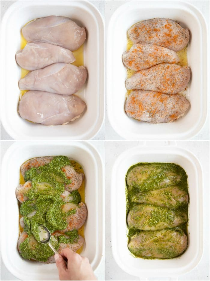 Step-by-step collage image detailing how to prepared baked pesto chicken recipe.