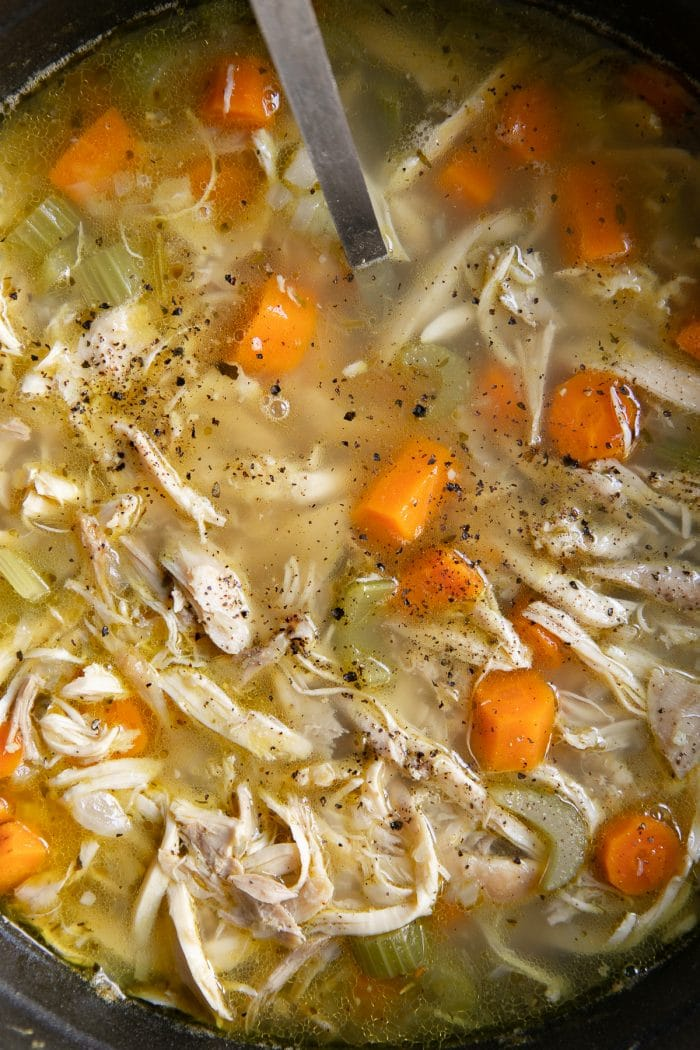 Large pot filled with homemade chicken soup recipe made with chicken, carrots, celery, and broth.