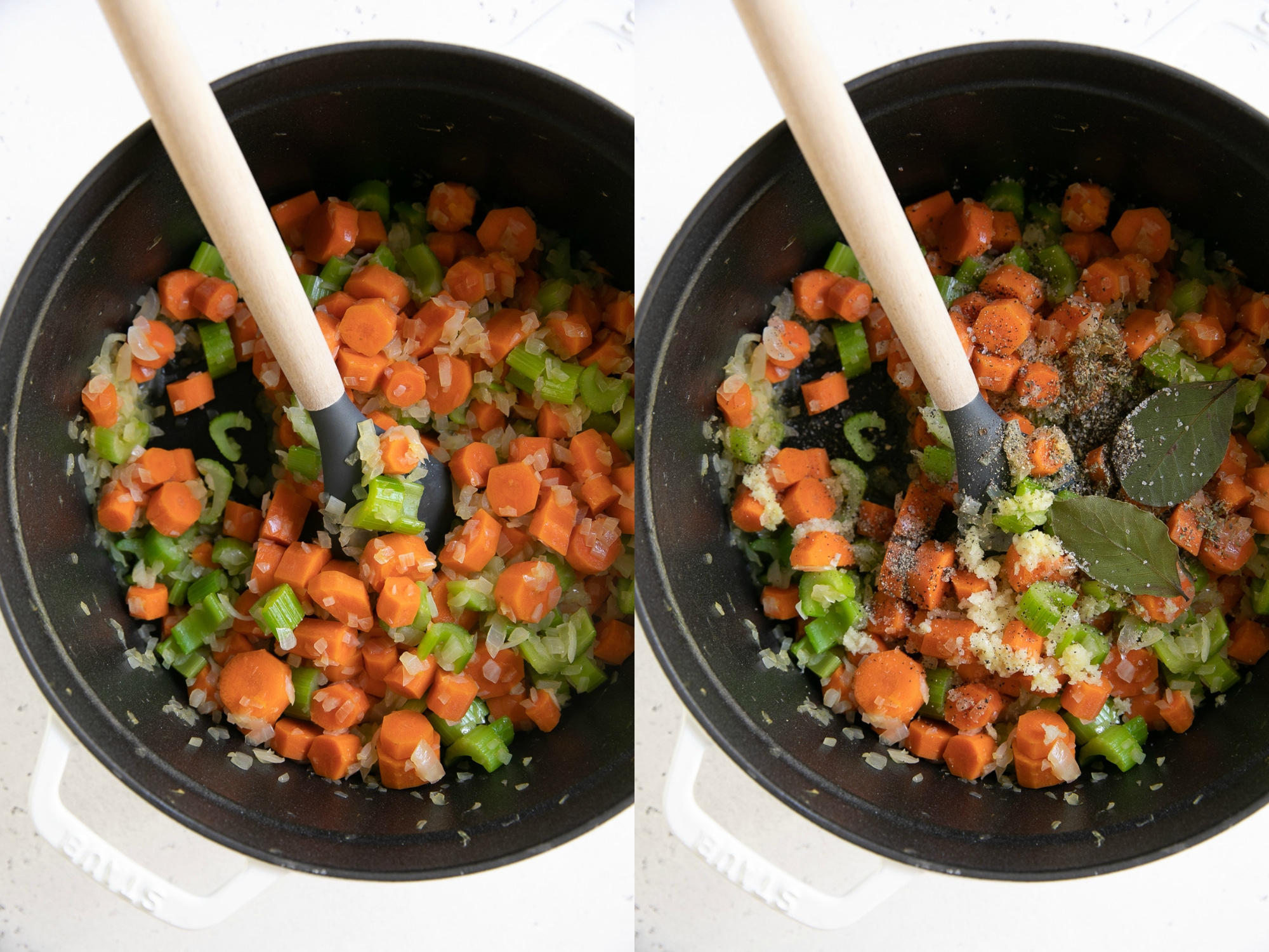 Two collaged vertical images showing a large pot with cooking carrots, celery, garlic, salt, pepper, and two bay leaves.
