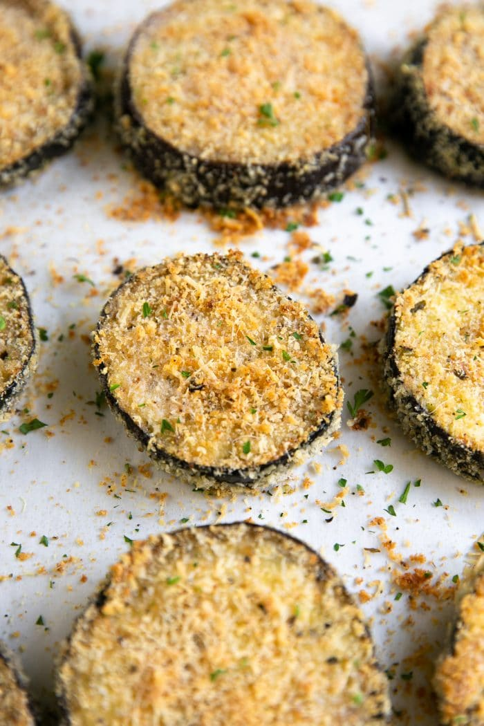 Crispy baked eggplant slices breaded with panko and parmesan cheese.