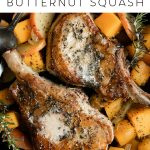 Pork Chops with Apples and Butternut Squash Pinterest Image Collage