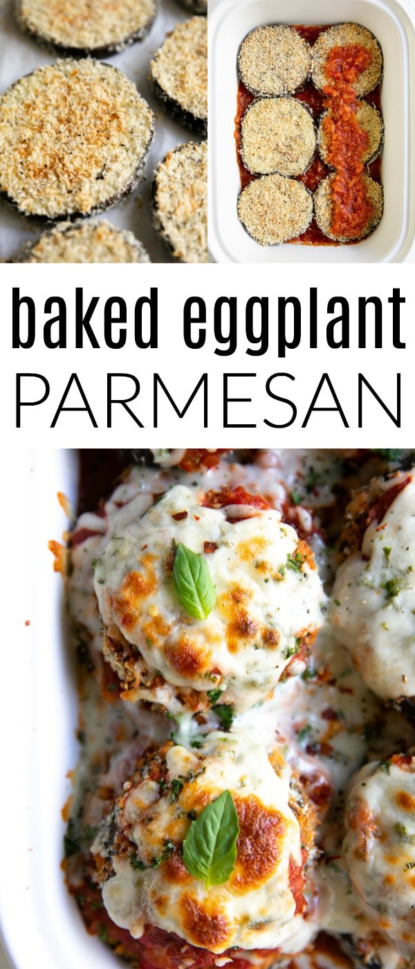 Pinterest pin for Baked Eggplant Parmesan Recipe