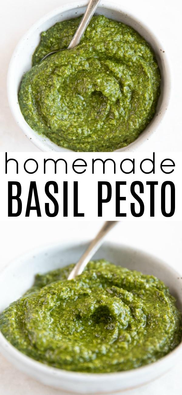 Pinterest pin for pesto recipe.