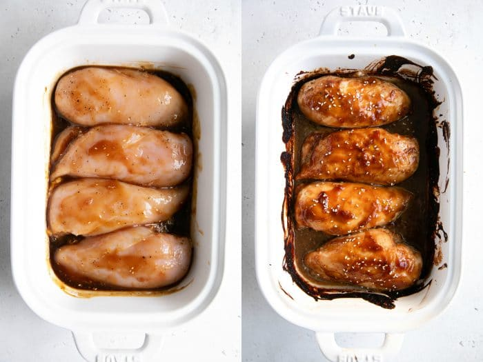 Baked chicken teriyaki before baking and after.