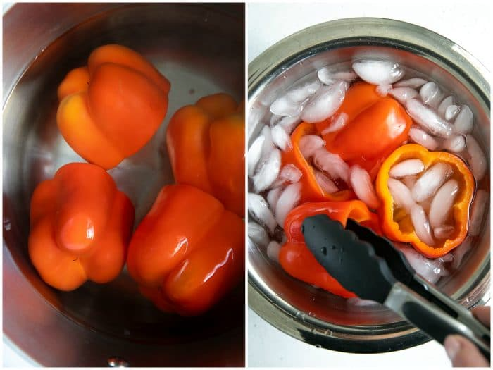Red Bell peppers being boiled then put into an ice bath