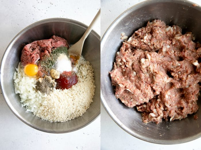 Collage image of meatloaf ingredients mixing together.