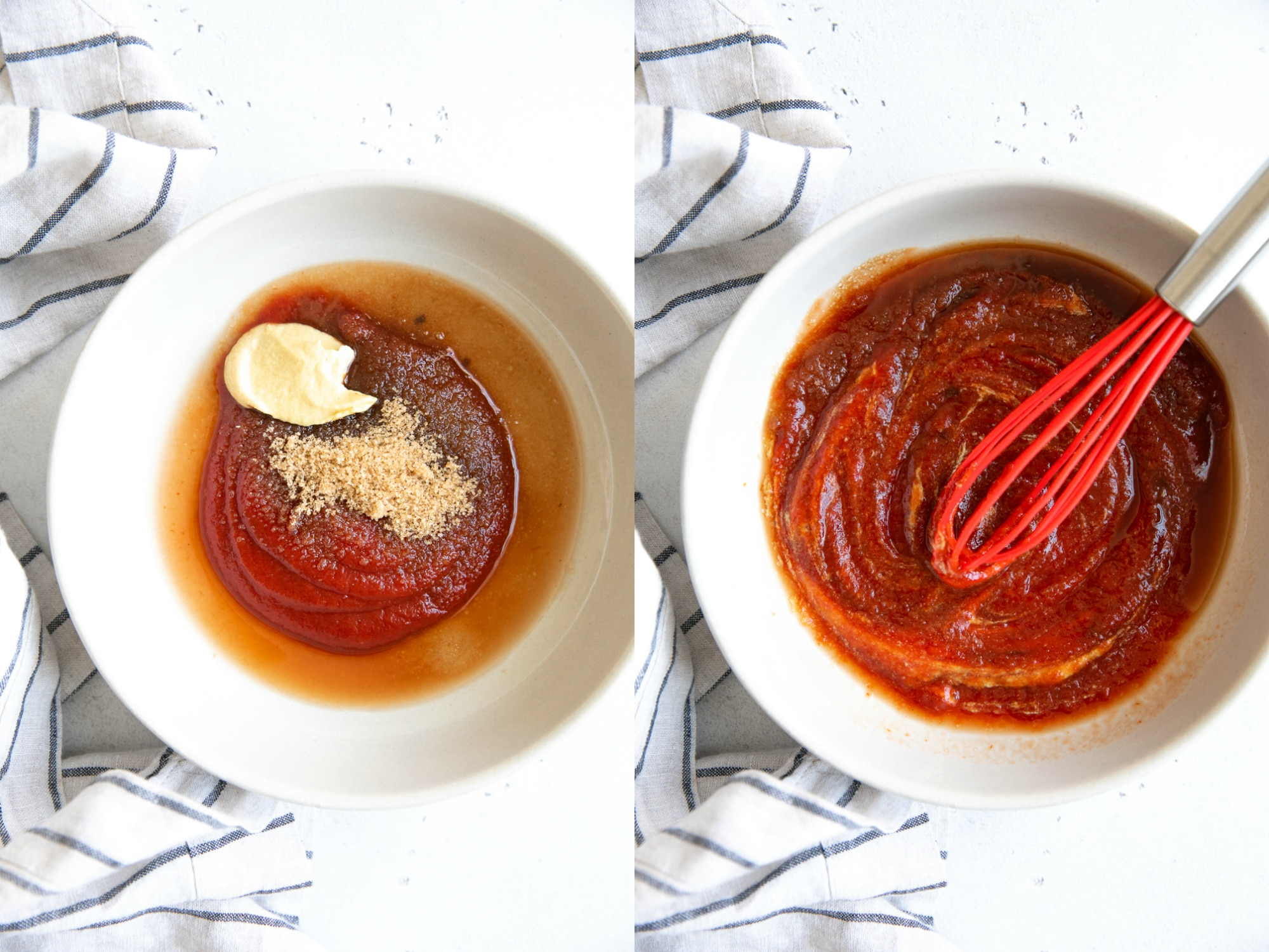 Collage image of ketchup sauce for meatloaf.