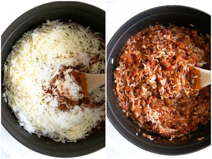 Cooked rice, shredded mozzarella cheese and spaghetti sauce filled with ground beef all mixed together in a large heavy-bottomed pot.