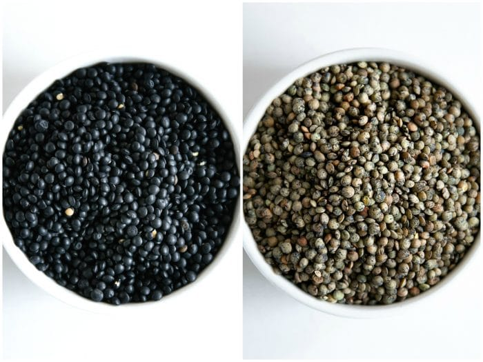 Images of bowls filled with black beluga lentils and French Puy lentils side-by-side.