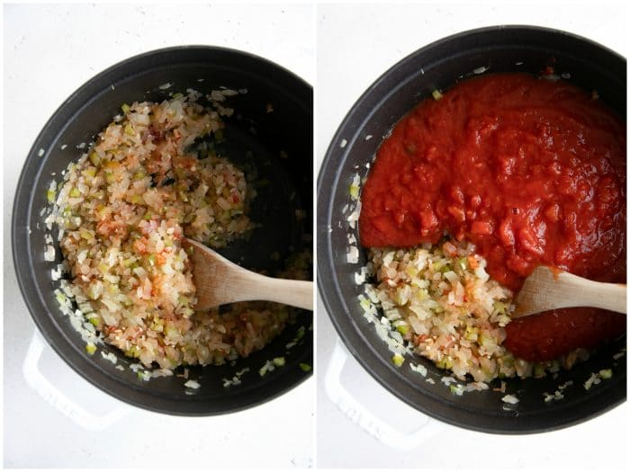Making homemade spaghetti sauce