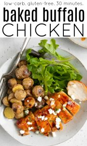 Pinterest pin for baked buffalo chicken