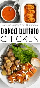 Three image pinterest pin for baked buffalo chicken recipe