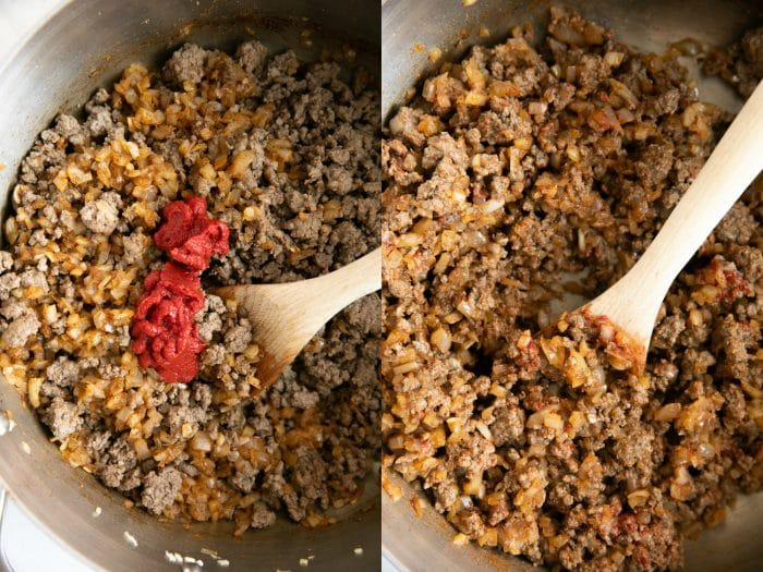 Collaged image of chili cooking in a pot.