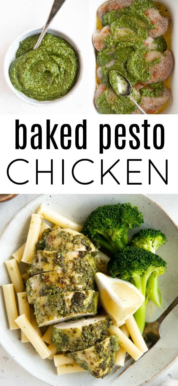 pesto chicken recipe pinterest pin collage