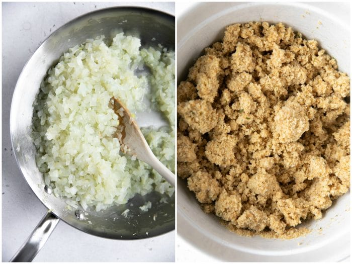 Collaged image: cooking onions on the left and Italian breadcrumbs soaked in milk on the right.