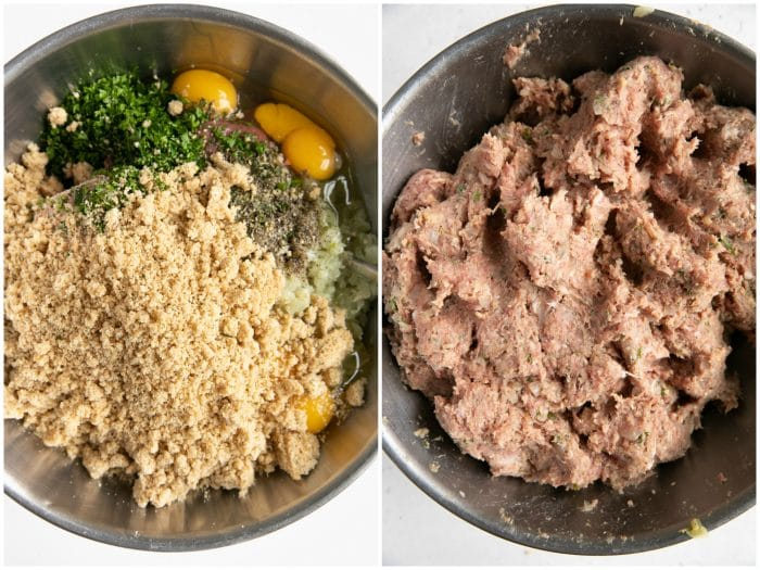 Collaged image: meatball ingredients in a large mixing bowl on the left and mixed together ingredients on the right.