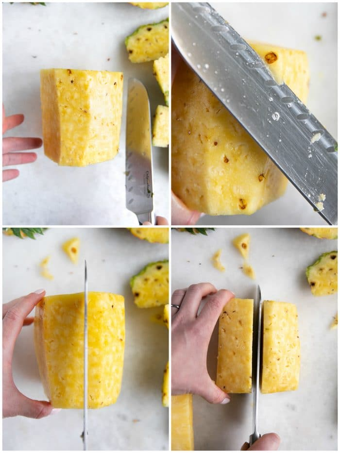 Step-by-step collage images of pineapple being cut up.