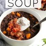 Easy Black Bean Soup Recipe Short Pin