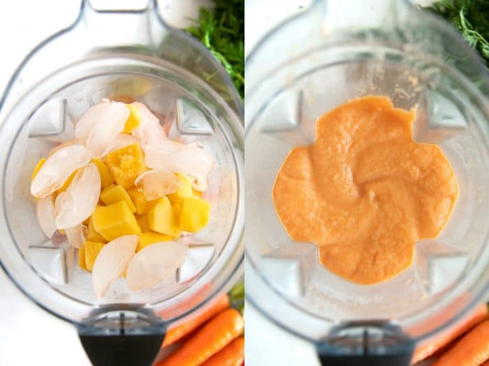 Blending a tropical carrot smoothie in a blender.