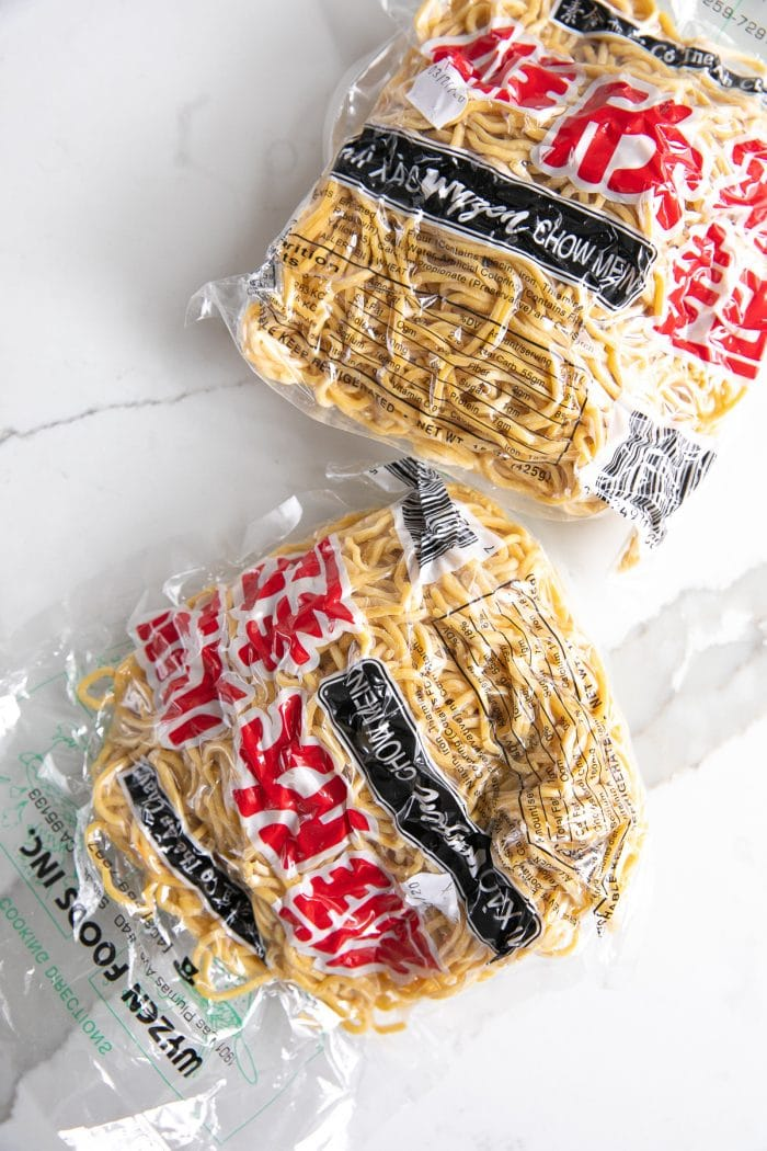 Packaged chow mein noodles.