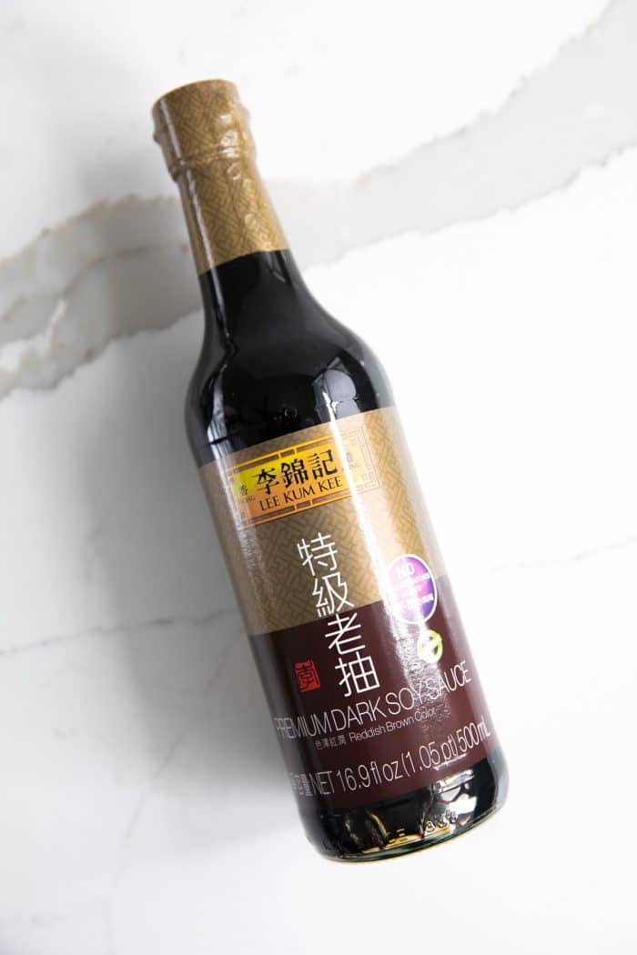 Bottle of dark soy sauce.