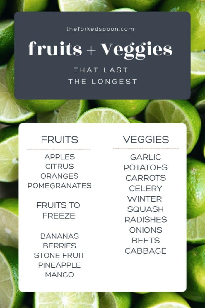 List of Fruits and Veggies that last the longest