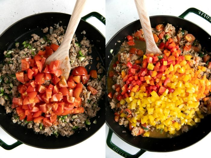 Two images showing tomatoes and fresh diced bell pepper added to cooked ground turkey in a large skillet.