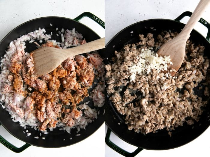 Two images showing onions, ground turkey, and minced garlic cooking in a large skillet.