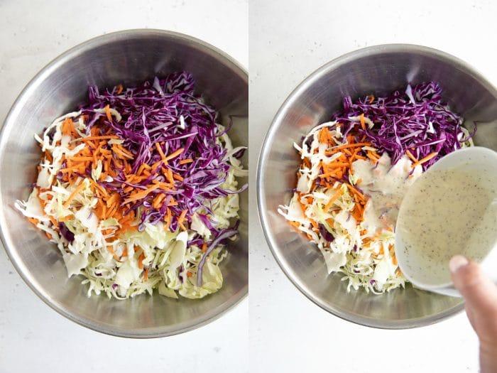 Preparing coleslaw.