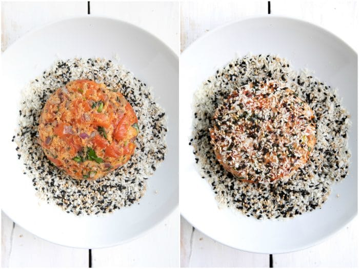 Coating raw salmon patty in a mixture of panko breadcrumbs, black sesame seeds, and white sesame seeds.
