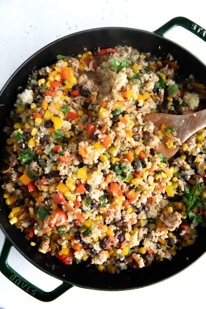 A pan full of Mexican Quinoa Casserole