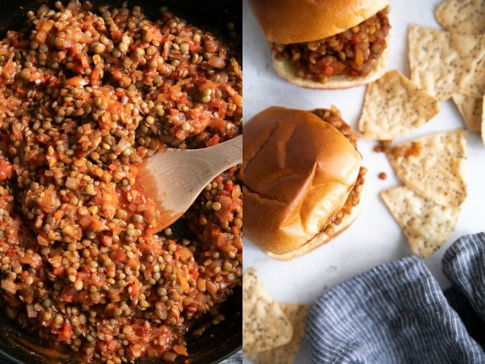 Fully cooked and mixed vegetarian sloppy joes in a large heavy bottomed skillet.