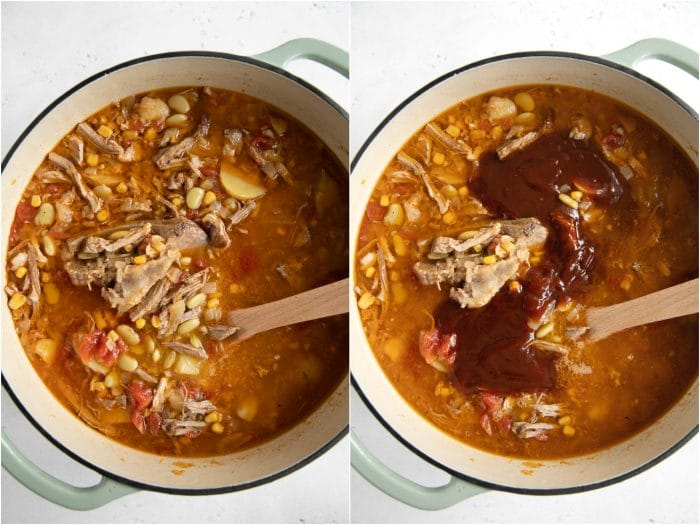BBQ sauce added to traditional Brunswick stew simmering in a large pot.